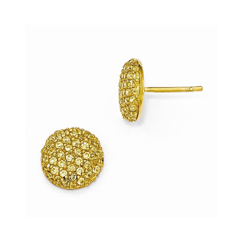 Cheryl M Sterling Silver Gold-plated Yellow CZ Post Earrings