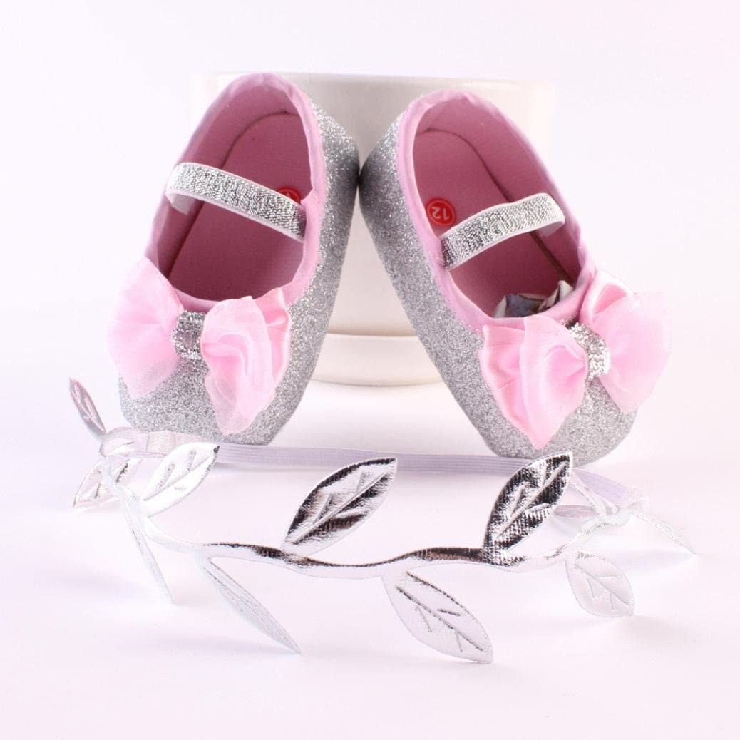Baby Girl Antislip Sequins Princess Prewalker Sneaker Shoes+Hairband TM Elevin