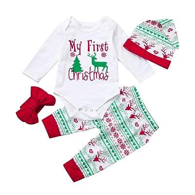 e5444d8c3236 Botrong 4PCS Newborn Baby Boy Girl Christmas Letter Print Tops+Pant+Cap Outfits  Clothes