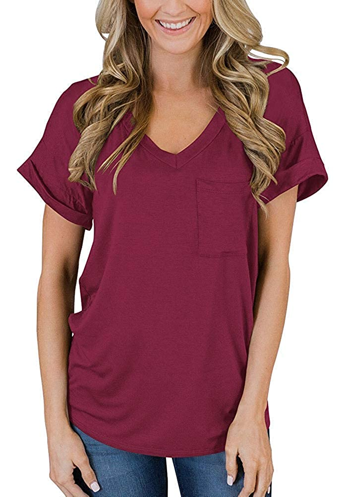 3short Sleeveswine Red Naivikid Women's Short Sleeve V Neck T Shirts Casual Loose Plain Basic Tee Tops Blouse Pocket