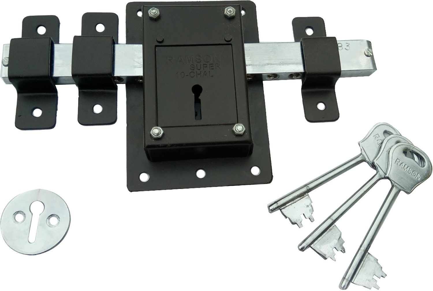 high security door locks. ramson 10 chal iron door lock with 3 keys for high security operated from both side of the brown_141 amazonin home improvement locks