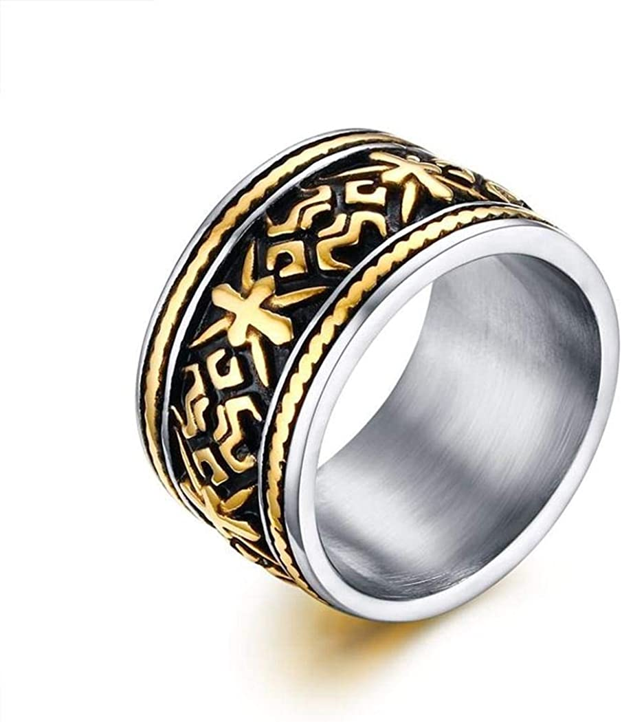 Stainless Steel Jewelry JEWURA Biker Ring Vintage Cross and Ethnic Pattern