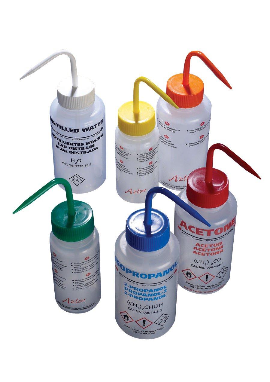 AZLON WGW535PML Plastic, Wash Bottle, Wide Mouth, Ethanol, LDPE, 250 ml (Pack of 5)