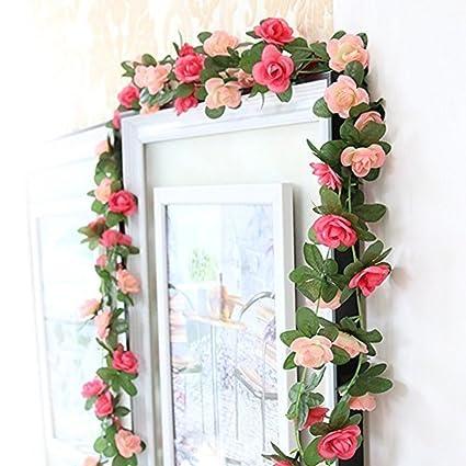 Guirnalda De Flores Artificiales De Vid Houda Con Flores - Manualidades-con-flores-artificiales