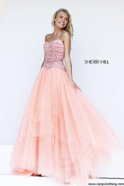 Sherri Hill 11082 Peach Full falda vestidos de novia rosa melocotón 38 (US 6)