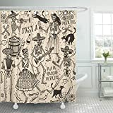 Emvency Shower Curtain Waterproof Adjustable Polyester Fabric Red Day with Skeletons Dia De Los Muertos The Dance Dead Black Cartoon Cat Catrina 60 x 72 Inches Set with Hooks for Bathroom