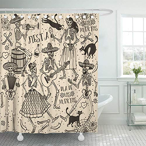 Emvency Shower Curtain Waterproof Adjustable Polyester Fabric Red Day with Skeletons Dia De Los Muertos The Dance Dead Black Cartoon Cat Catrina 72 x 72 Inches Set with Hooks for Bathroom ()