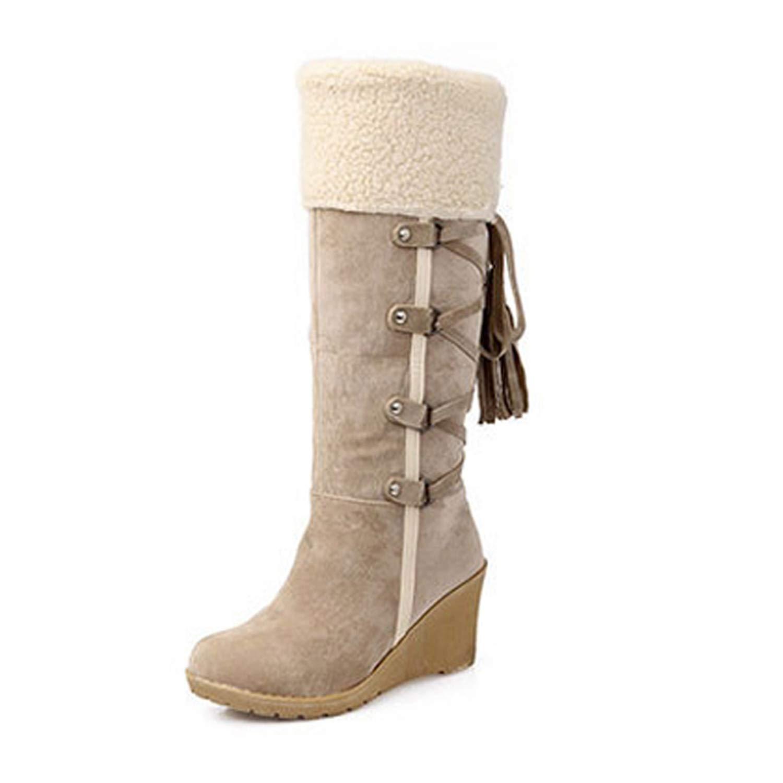 Juvenile shoulder Women Winter High Boots Plus Size 43 Women High Boots Warm Snow Boots Suede Wedge Boots,Beige,5