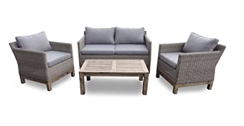 Set sofa de terraza rattan color natural acacia cojines gris ...
