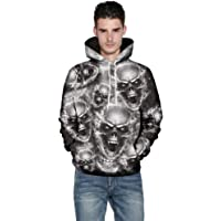 Oversized 3XL 4XL 5XL Hoodie Mens Black Zip 3D Skull Full Longline Pullover Top Hoody Up 2XL Goth Personalised Cool Warm Man