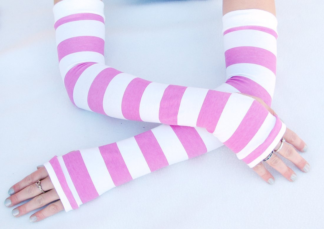 Pink Striped Arm Warmers Extra Long fingerless gloves