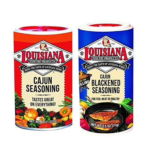 Louisiana Fish Fry Products - 8 oz. Cajun Seasoning and 2.5 oz. Cajun Blackened - Cajun Seasoning Blackening