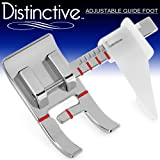 Distinctive Adjustable Guide Sewing Machine Presser Foot - Fits All Low Shank Snap-On Singer, Brother, Babylock, Euro-Pro, Janome, Kenmore, White, Juki, New Home, Simplicity, Elna More!