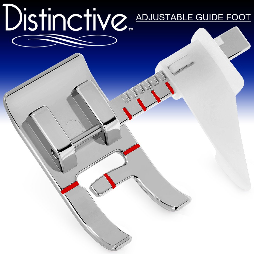 Distinctive Adjustable Guide Sewing Machine Presser Foot - Fits All Low Shank Snap-On Singer, Brother, Babylock, Euro-Pro, Janome, Kenmore, White, Juki, New Home, Simplicity, Elna More! DADJGUIDESF