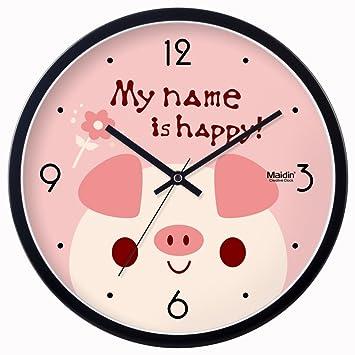 mudo relojes de dibujos animados/Sala de estar dormitorio moda linda alcancía afiches/ el reloj de la moderna/Reloj-A 14pulgada: Amazon.es: Hogar