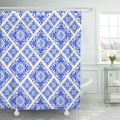 Emvency Shower Curtain Set Waterproof Adjustable Polyester Fabric Blue Adha Portuguese Azulejo Tiles Watercolor Eid Andalusia Porcelain Aquarelle 72 x 72 inches Set with Hooks for Bathroom