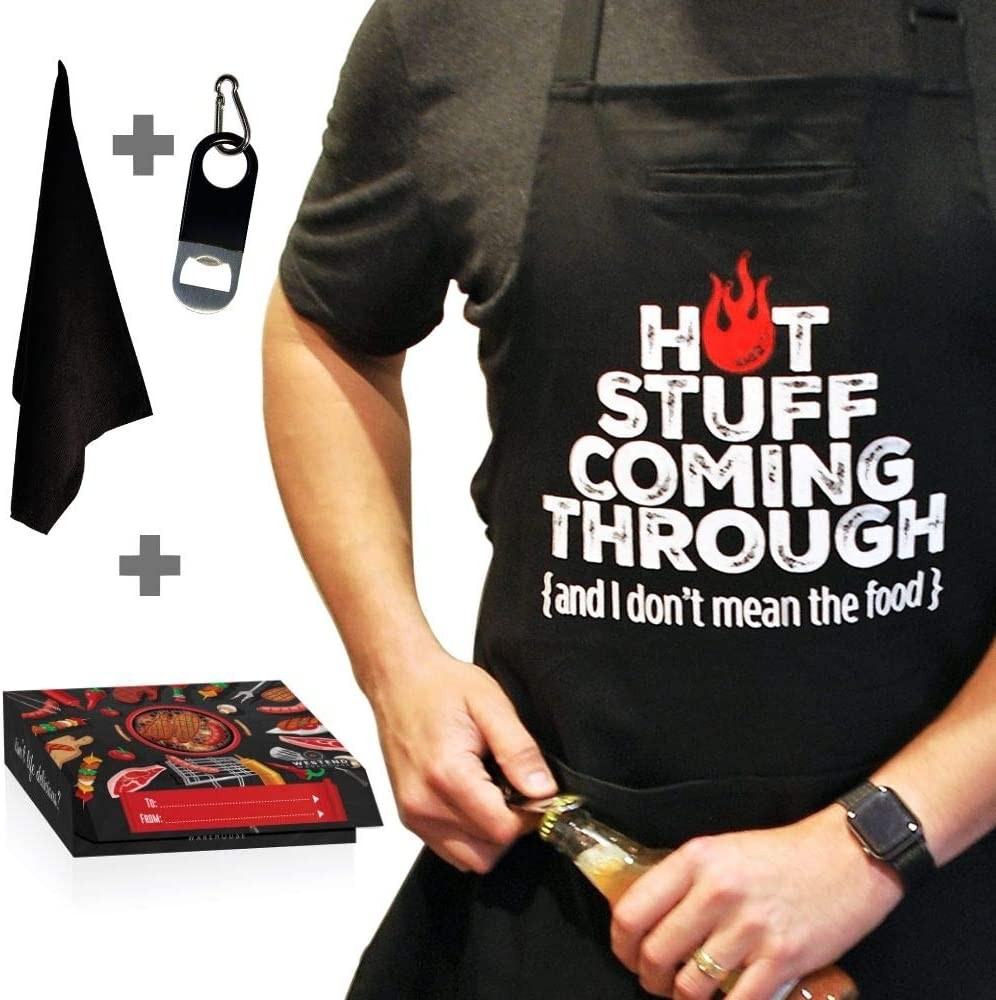Chef Apron for Men, Cooking Apron, Funny Apron, BBQ Apron, 3 Pockets, Bottle Opener, Towel and Gift Box Included, Black 100% Cotton Durable Professional Quality