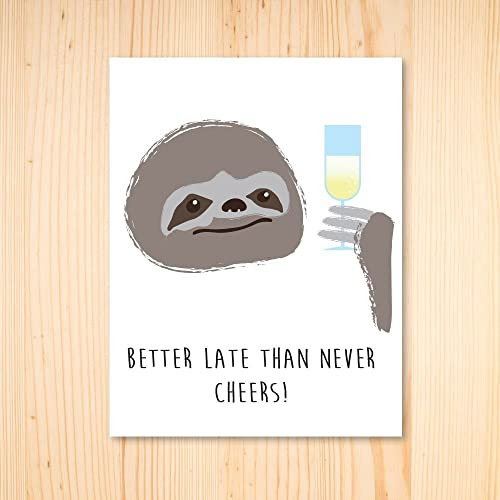 Amazon Sloth Birthday Card Sloth Cheers Card Sloth Belated