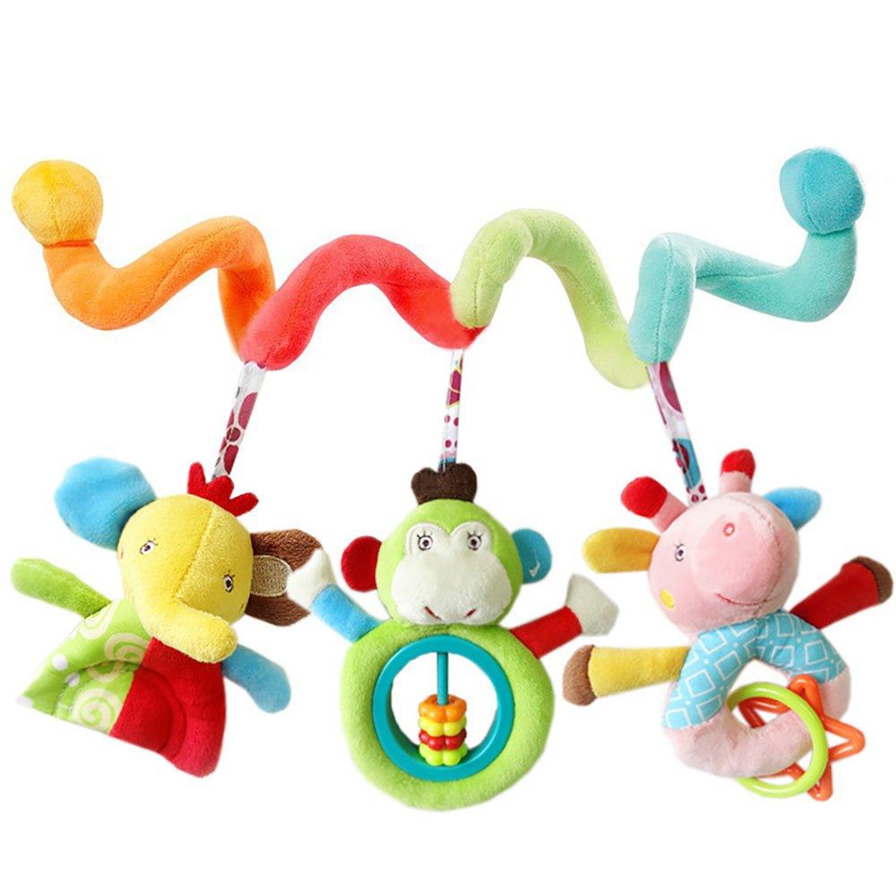 Isuper -Juguetes Colgante, Espiral Actividades Juguetes del Cochecito y Cama, Colgando Cuna Musical Sonajero, bebé Cuna de Juguete(Animal)