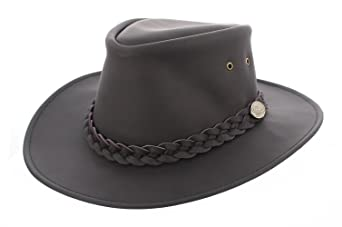Australian Black Leather Bush Hat Cowboy Hat XLarge 60cm