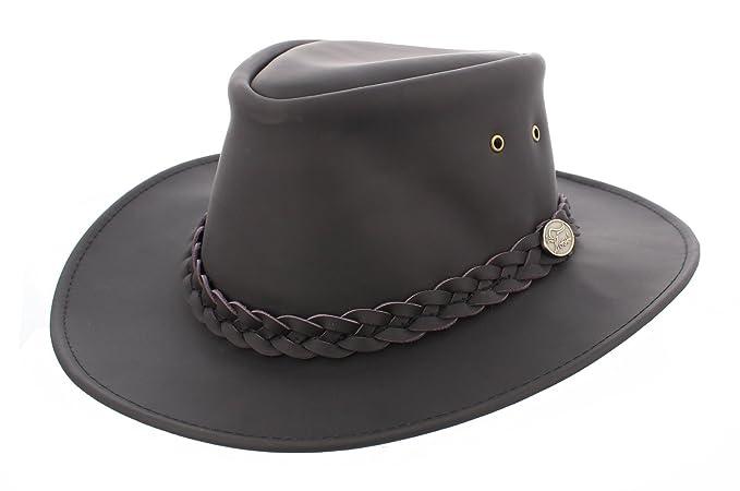 ab386368334 Western   Aussie   Australian style Bush Leather Hat in Black AK60  (Outback Aussie Bush)  Amazon.co.uk  Clothing