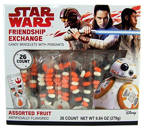 Star Wars Valentine's Day Classroom Friendship Exhange Candy Bracelets, 26 Count ()