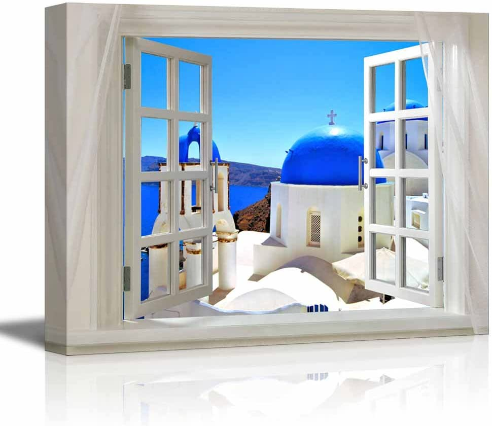 Glimpse into Blue Domed Churches in Santorini,Greece Out of Open Window | Modern Wall Decor/Home Decoration Stretched Gallery Canvas Wrap Giclee Print & Ready to Hang - 32