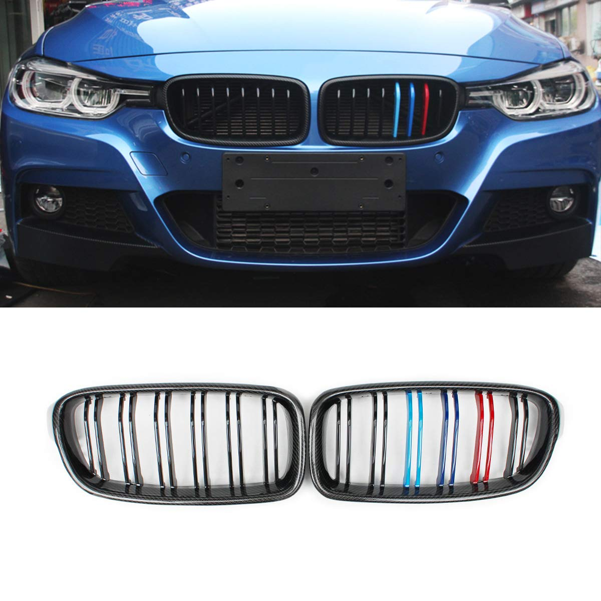 Carbon Fiber, gloss black F30 Grilles 1 Pair Replacement Front Grills for 3 Series F30 F31
