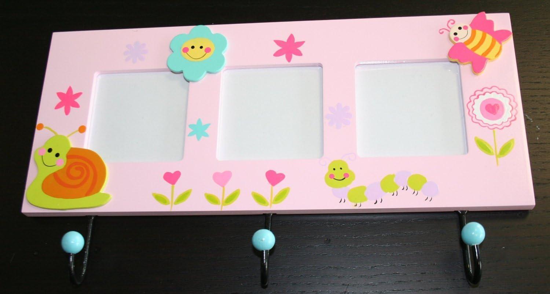 con motivos infantiles y 3 marcos para fotos, madera, 326 x 185 x 35 mm color rosa Perchero de pared