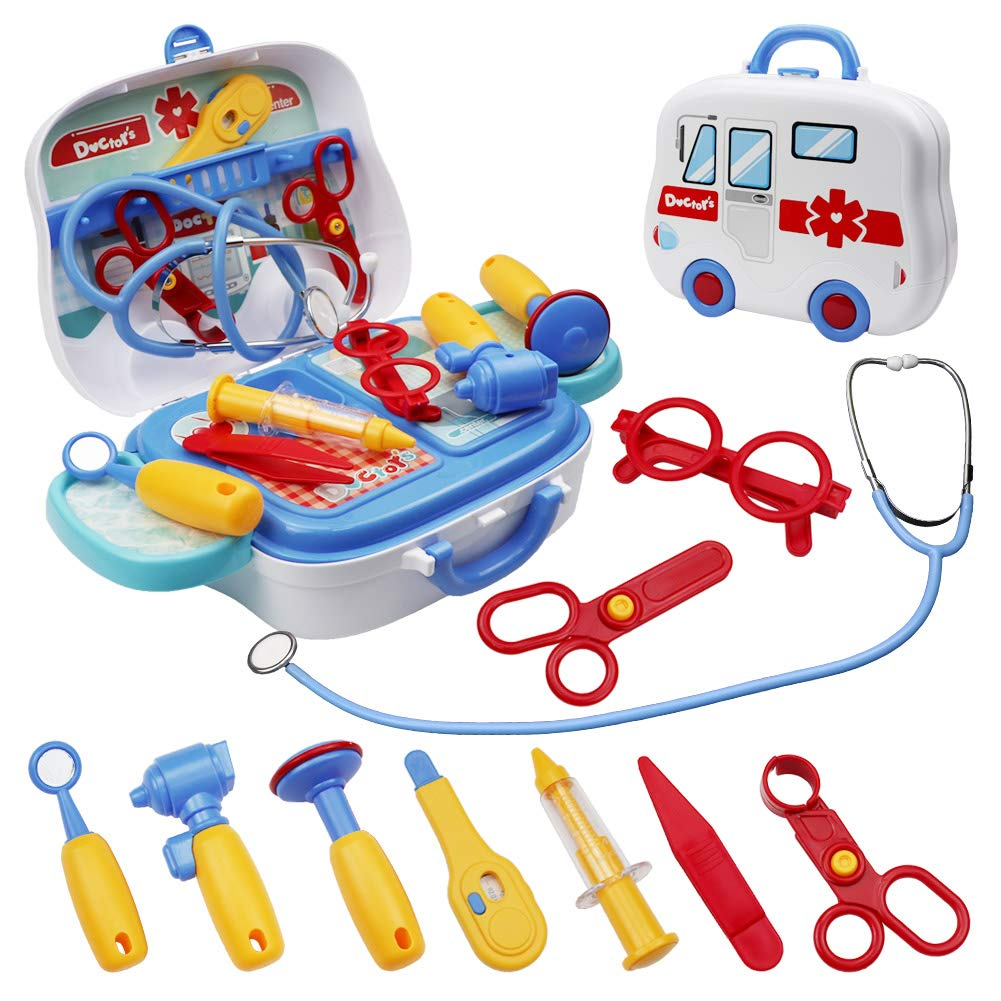LIVEHITOP Toy Doctor Kit 14 Pieces Kids Doctor Kit Pretend-n-Play Dentist Medical Kit with Electronic Stethoscope for Kids School Classroom Easter Stuffers