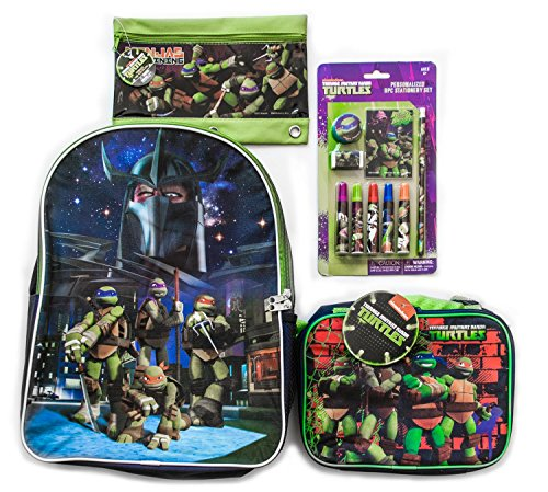 TMNT Teenage Mutant Ninja Turtles Backpack w/Lunch box for Toddlers and Kids 16 inch (Ninja Turtle Sai)
