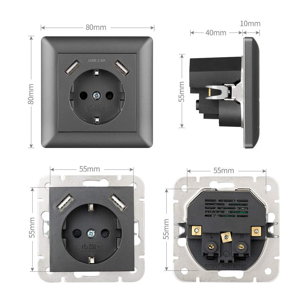 Schuko Enchufe de pared con USB 2.8A Gris, Kaifire Toma de corriente con 2 x USB System 55 Instalación empotrado - Cargador para Smartphone Tablet MP3: ...