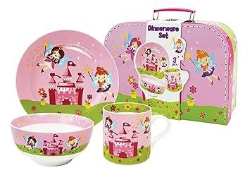 """Set de Vajilla Infantil Decorativa de Porcelana"""" Hadas"""". Vajillas y Cuberterías. Regalos"""