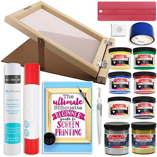 Silhouette Cameo Screen Printing Bundle with Extra Paints and 10 Inch x 14 Inch Screen with - Cameo Paints Fabric