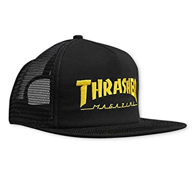 7c030219cd4 Image Unavailable. Image not available for. Color  Thrasher Magazine  Embroidered Skate Mag Logo Snapback Trucker Hat - Black Yellow