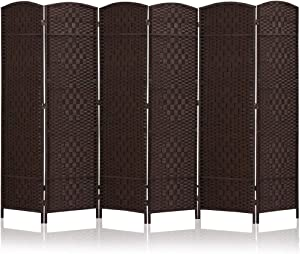 JOSTYLE Room Divider 6ft. Tall Extra Wide Extra Wide Privacy Screen, Folding Privacy Screens with Diamond Double-Weave Room dividers and Freestanding Room Dividers Privacy Screens (Espresso, 6-Panel)