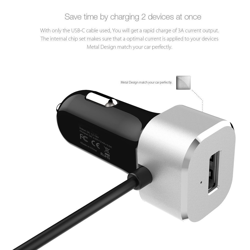 Arctek 33w Dual Usb Car Charger With Qc 30 And Built In Nokia Asha 310 Sim Resmi White C 5v 3a Cable For Lg G6 V20 Google Pixel Xl 6p 5x Moto Z Force