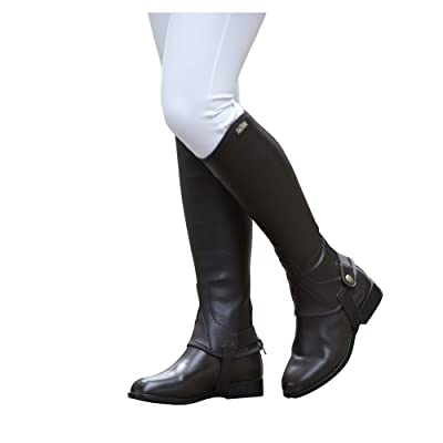 Saxon. Equileather Adult Half Chaps XS Black: Clothing