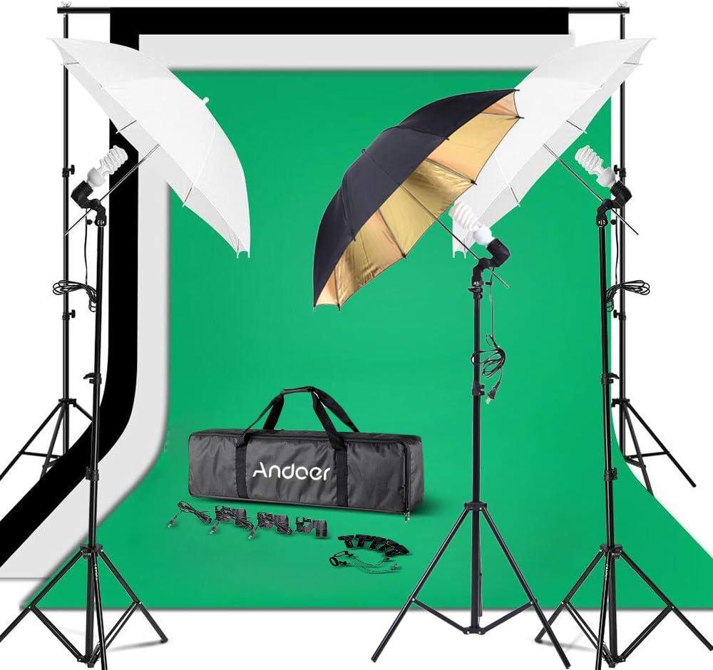 طقم إضاءة ستوديو صور من Andoer 3 قطع مصباح إضاءة 45 وات مع خلفية من الموسلين 200 سم، مجموعة صندوق ناعم 32 بوصة لتصوير فيديو استوديو التصوير الفوتوغرافي/التصوير الفوتوغرافي 3 مظلات مع 3 قطع خلفية خضراء
