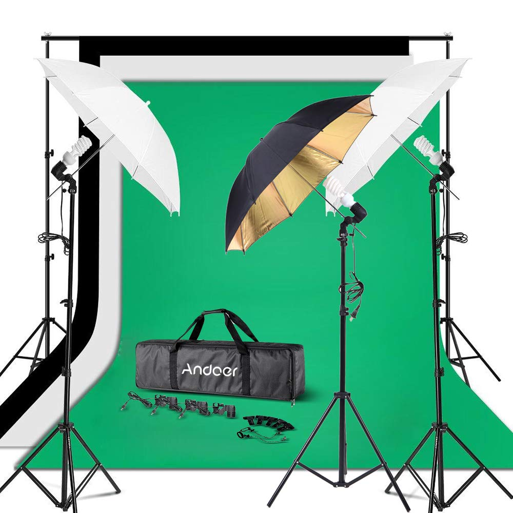 Andoer Photography Umbrella Continuous Light Kit, 6.6ft10ft Background Support System, 3pcs Backdrops Screen and 3pcs Umbrellas for Photo, Portrait, Studio Shoot by Andoer