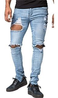 Amazon.com: Sarriben Pantalones vaqueros para hombre con ...