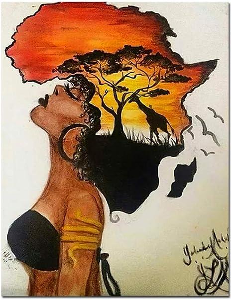 Peintures sur le mur de femme africaine classique - Paysage abstrait -  Impression sur toile - Décoration d'intérieur - 50 x 70 cm - 1 pièce - Sans  cadre: Amazon.ca: Maison et Cuisine