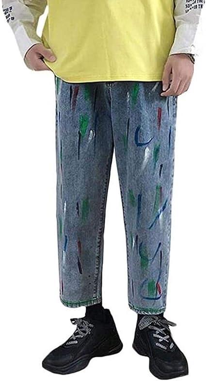 [ウンセン]デニムパンツ メンズ ゆったり 九分丈 ワイドパンツ デニム プリント ファッション ジーンズ カジュアル おしゃれ ロングパンツ ストリート系 夏