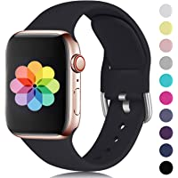 HUMENN Compatible with Apple Watch Strap 38mm 42mm 40mm 44mm, Soft Silicone Classic Sport Replacement Bands for iWatch Series 5/4/3/2/1