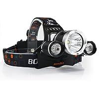Boruit RJ-50003x XM-L2T6LED 4Modi Micro USB Çıkış LED Kafa Lambası, Super Bright 5000lümen lambası kafa lambası kafa lambası şarj edilebilir piller, Wall & Car Charger, USB şarj kablosu ile kamp, yürüyüş, okuyun, bisiklet, AV ve balık tutma için