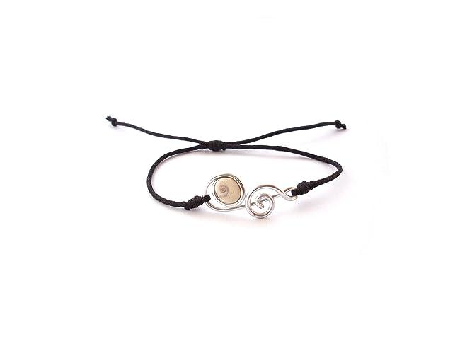 Bracelet argent/é avec des yeux de Sainte Lucie le coquillage porte bonheur//Oeil de sainte lucie