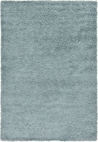 Unique Loom Solo Solid Shag Collection Modern Plush Light Slate Blue Area Rug (6' 0 x 9' - Slate Blue Light
