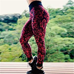Jinqiuyuan Sexy Seamless Yoga Pants Fitness Leggings Sports Women Mechanical Print High Waist Hip Leggings Running Fitness Yoga Trousers (Color : Red, Size : XL)