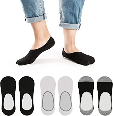 10 Pairs No Show Mens Invisible Casual Cotton Loafer Socks Non-Slip Grip Low Cut