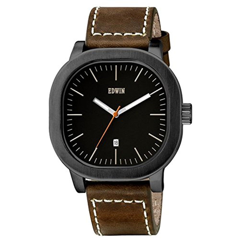 Edwin ew1g016l0054 Edelstahl Herren Braun Leder Band Schwarz Zifferblatt Armbanduhr